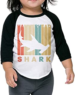 Vintage Style Hammerhead Shark Silhouette Child Long-Sleeved T Shirt for 2-6 Years Old Baby