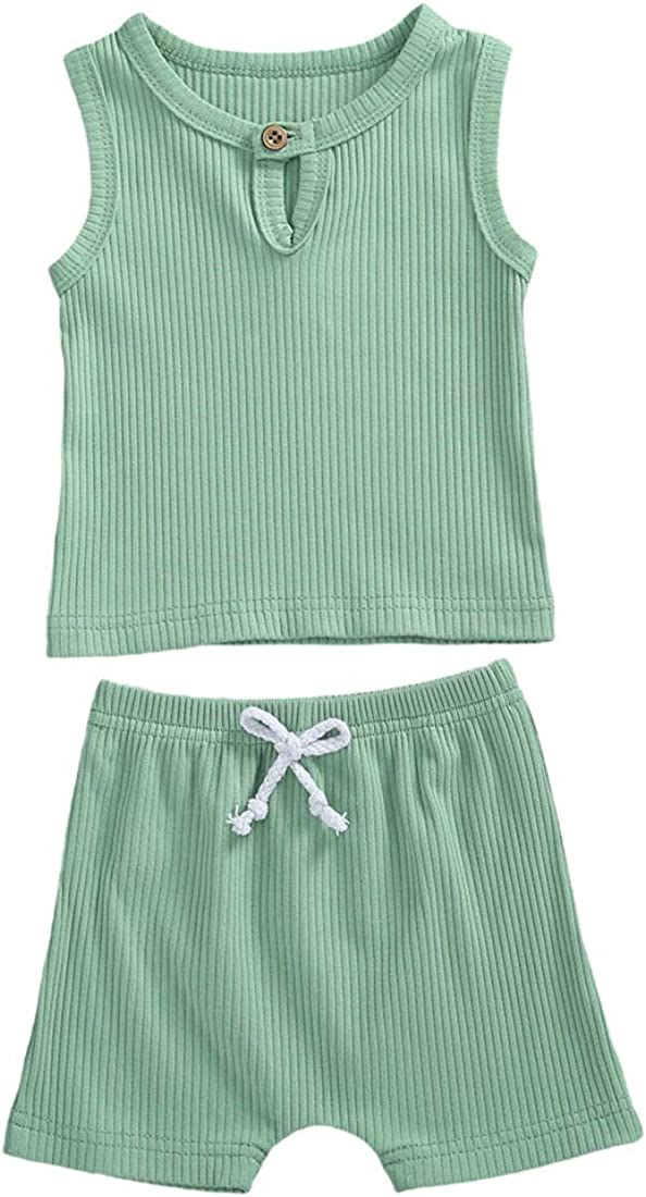Ribbed Set Baby Solid Outfit Newborn Baby Girl Boy Sleeveless Tank Top Button T-Shirt+Shorts Kids Summer Clothes