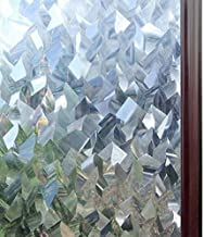 Rabbitgoo Privacy Window Film 3D Crystal Icicles Stained Glass Film No Glue Static Cling Window Covering Anti-UV Window Sticker Self-Adhesive Vinyl Glass Film for Home Office 17.5 x 78.7 inches