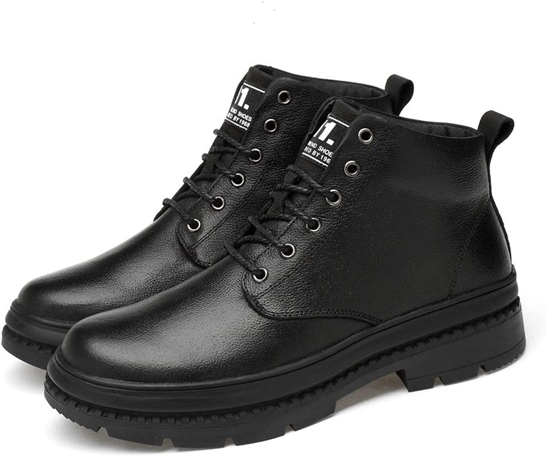 EGS-schuhe Herren Stiefeletten Casual British Style Einfache Anti-Rutsch-Laufsohle Wachs Schnürung Solid Farbe Stiefel (Warm Velvet Optional),Grille Schuhe (Farbe   Schwarz, Größe   44 EU)