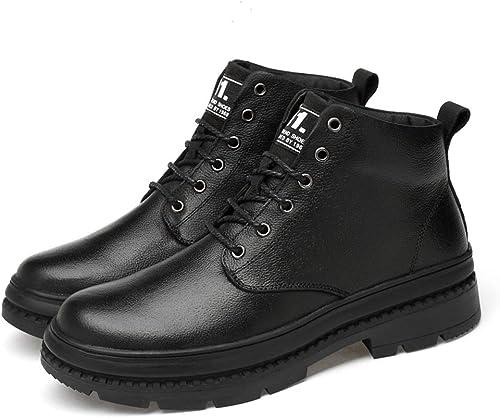 Chaussures Chaussures Chaussures Homme Bottines pour Hommes Décontracté Style Britannique Simple Semelle antidérapante Laçage à la Cire Bottes de Couleur Unie (Warm Velvet en Option) Confortable b4b