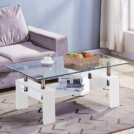 GOLDFAN Table Basse en Verre Rectangulaire Blanc Table Basse de Salon Design Moderne Table Basse Double avec Espace de Rangement