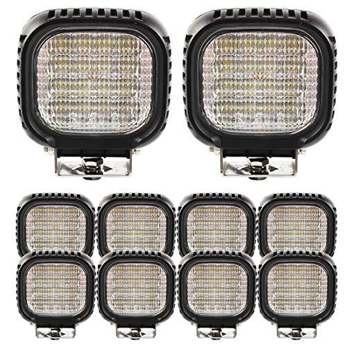 BRIGHTUM 48W CRE LED Offroad Arbeitsscheinwerfer weiß 12V 24V Reflektor worklight Scheinwerfer Arbeitslicht SUV UTV ATV Arbeitslampe Traktor Bagger LKW KFZ (10 Stück)