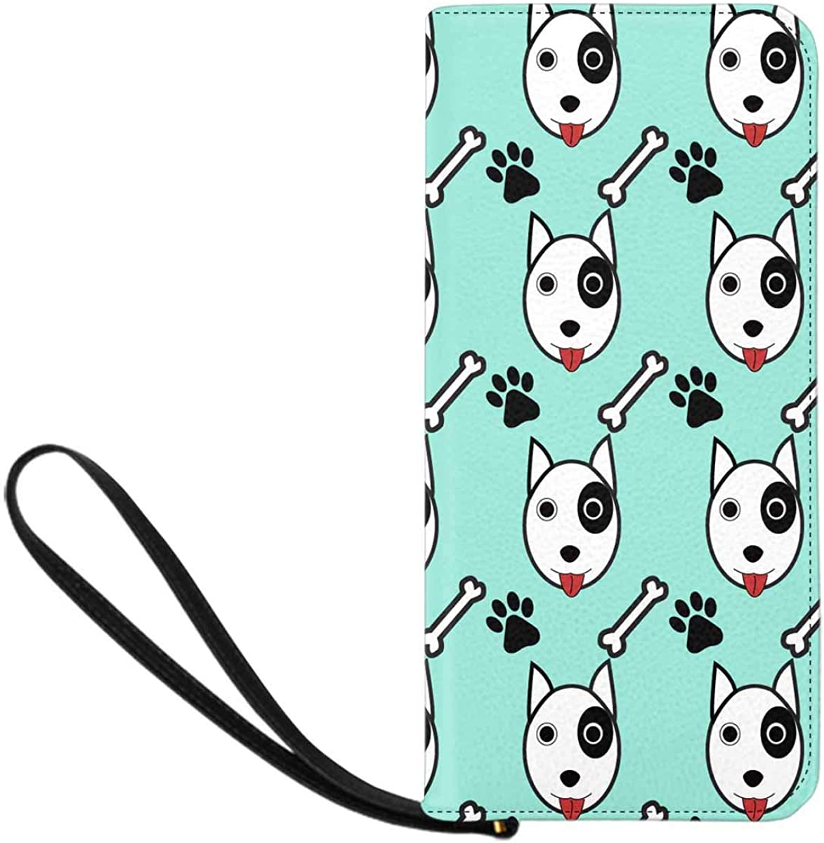 INTERESTPRINT Background of Dog, Bone and Footpr Clutch Wallet with Card Holder Cash Pocket Wrist Strap