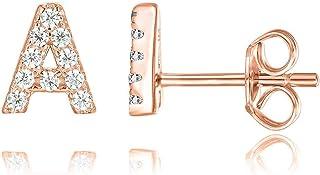 PAVOI 14K طلا نقره ای نقره ای CZ الفبای گوشواره | گوشواره های اولیه برای دختران