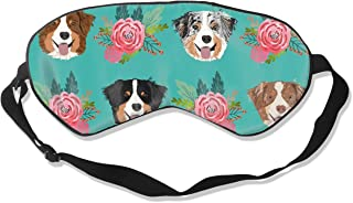Aussie Dog Floral Australian Shepherd Dogs Purple 100% Silk Sleep Mask Comfortable Non-Toxic, Odorless and Harmless,Soft Blindfold Eye Mask Good for Travel and Sleep