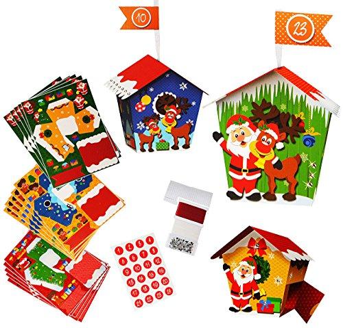 alles-meine.de GmbH XL BASTELSET - Weihnachtskalender - 24 Vogelhäuser ___ mit Weihnachtsmann & Rentier - zum Aufhängen / Hinstellen + zum Befüllen - selber Basteln - für Erwachs..