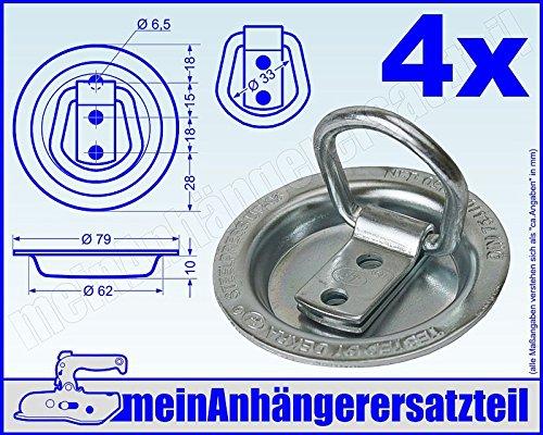 4x Zurrmulde Klappöse mit Ring klappbar Einbau 250daN 250kg zur Ladungssicherung
