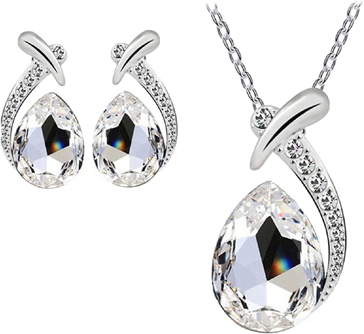 Harlorki Women Lady Girl Shiny Simple Crystal Rhinestone Pendent Chain Necklace Stud Earring Fashion Costume Jewelry Set