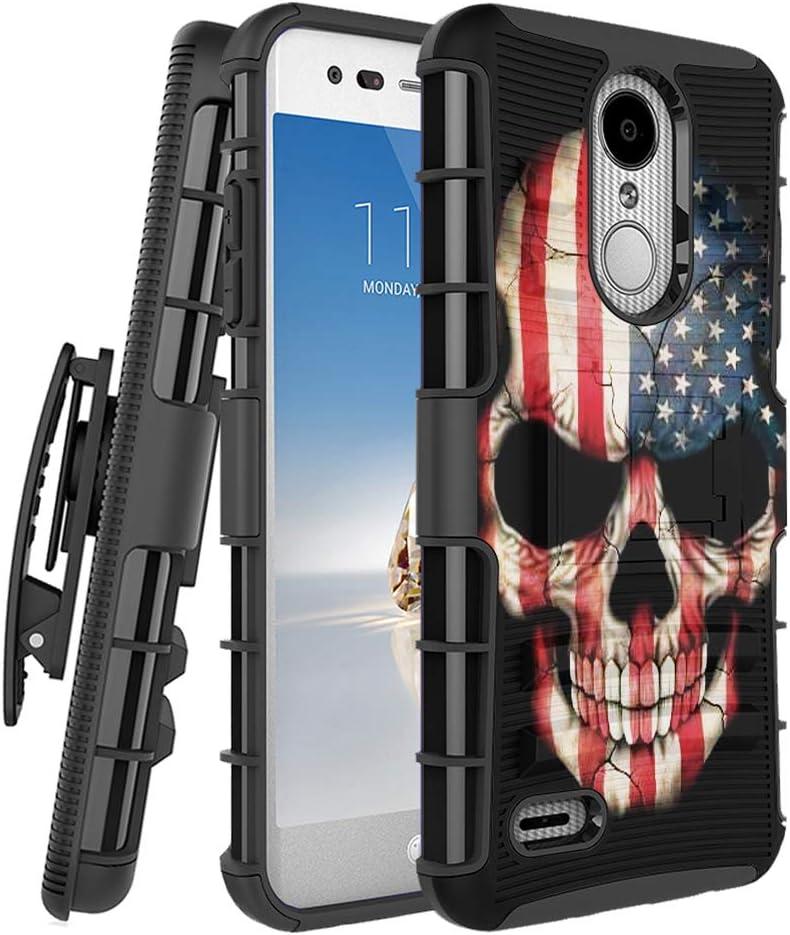 Moriko Case Compatible with LG Aristo 3, 3 Plus, Rebel 4 LTE [Military Grade Shockproof Kickstand Holster Men Style Belt Clip Heavy Duty Black Case Cover] for LG Aristo (USA Flag Skull)