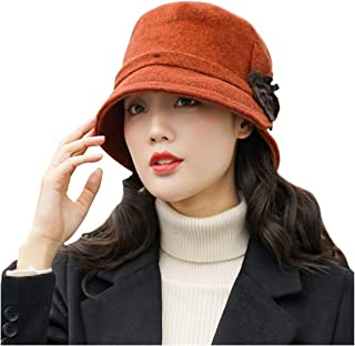 SF Women's Hats, Autumn And Winter Wild Woolen Hats, Elegant Flower Berets, Fisherman Hats, Caps, Hats (Color : Orange)