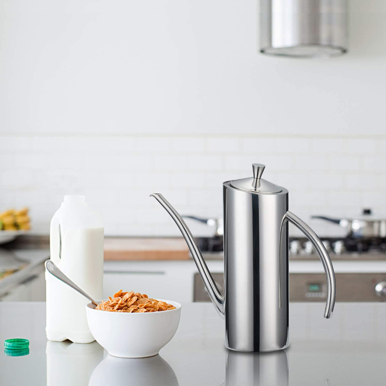 Oive Oil Can Stainless, KSENDALO 24oz Stainless Oil Dispenser Bottle, Drip Free/Everyday-use Stainless Oil Vinegar Cruet, Silver(700ML/0.74Quart): Home Improvement
