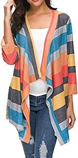 🍒 Spring Color 🍒 Women's Casual Striped Color Block Long Sleeve Open Front Shirt Loose Asymmetrical Cardigans Coat