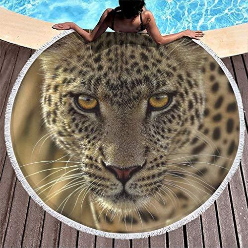 Gamoii - Toalla de playa redonda con flecos para mujer y hombre, diseño de leopardo, poliéster, blanco, 150 cm
