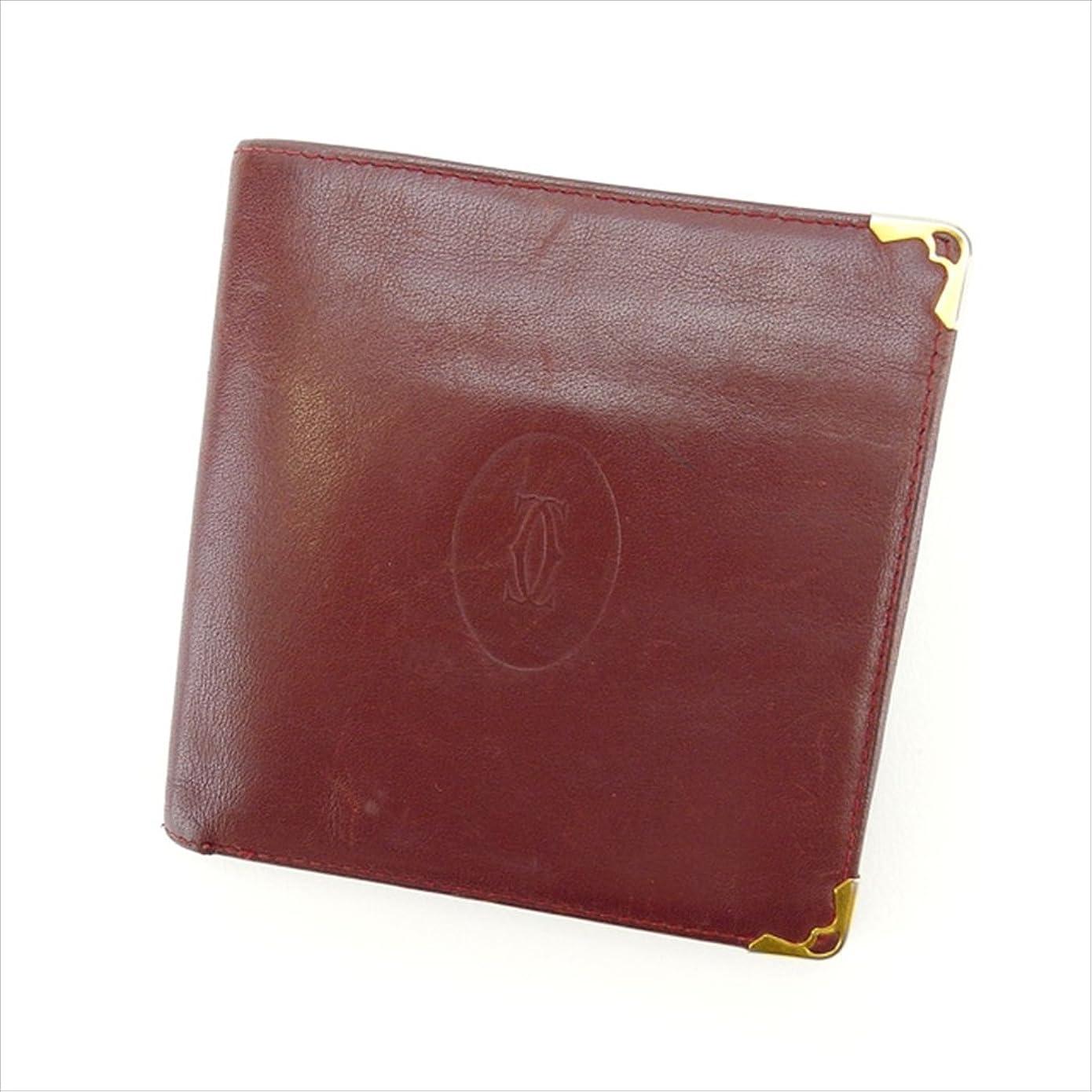 運命的な悪性(カルティエ) Cartier 二つ折り財布 ボルドー マストライン レディース 中古 B782