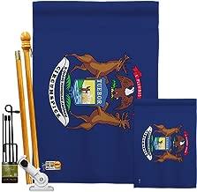 Americana Home & Garden FK140523-BO Michigan Americana States Decorative Vertical Flags Kit, House & Garden Set w/Flagpole, Multi-Color