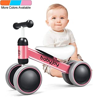 BABY JOY Baby Balance Bikes, Baby Bicycle, Children Walker Toddler Baby Ride Toys for 9-24 Months, Ride-on Toys Gifts Indoor Outdoor for 1 Year Old, No Pedal Infant 4 Wheels Bike (Pink)