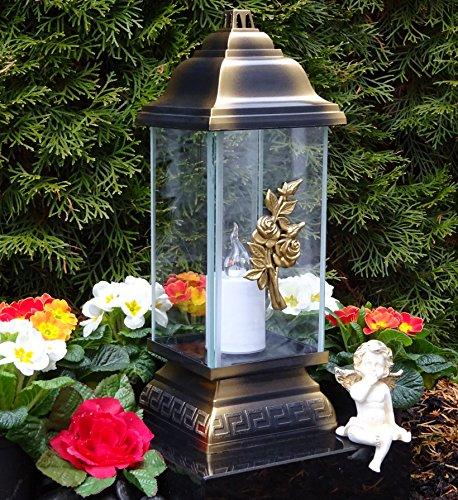♥ LED Grablampe Ornament Rose Bronze 34,0cm incl. LED Grablicht Grabkerze Grabschmuck Laterne Grableuchte Kerze Lampe