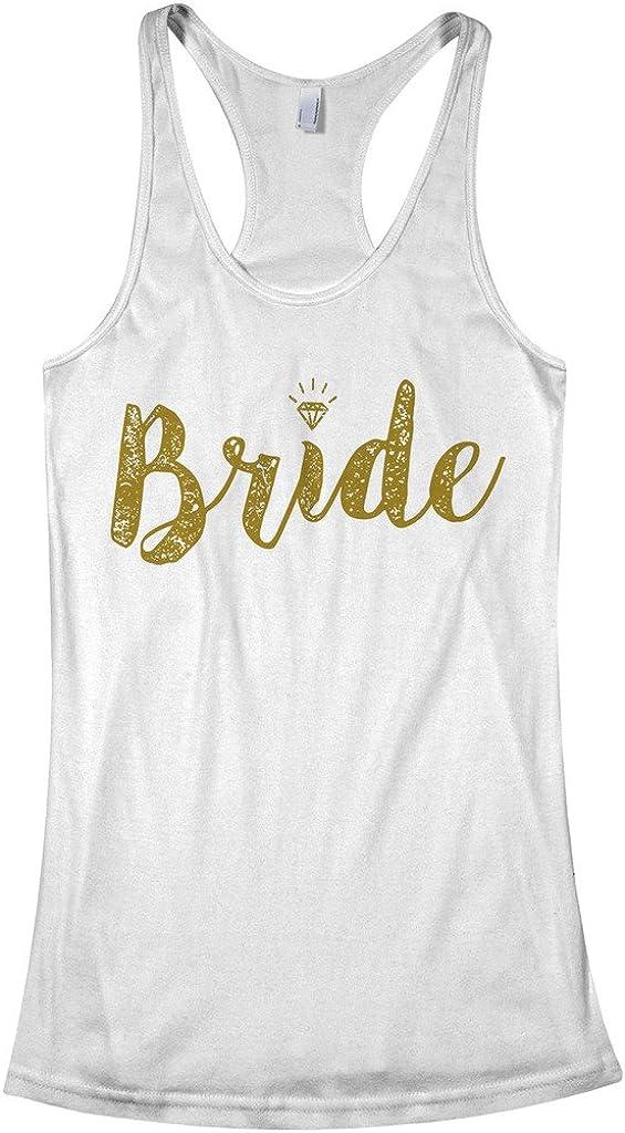 Threadrock Rapid rise Women's Bride Gold Top Tank Racerback Script At the price