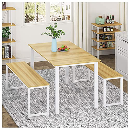 HOMURY 3 Piece Dining Table Set Breakfast Nook Dining Table with Two Benches, White