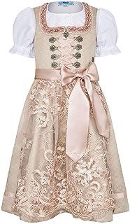 MarJo Mädchen Teeniedirndl/Teenagerdirndl/Jugenddirndl Champangner Rosa mit Bluse, Champagner/ROSA,