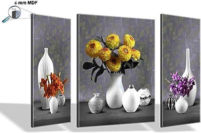 SAF 6MM Flower Set of 3 Panel Digital Reprint 12 inch x 18 inch Painting (SAJM7478) SANFJM7478