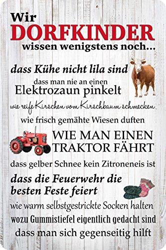 Wir Dorfkinder - Blechschild 20x30 cm - Fussball Feuerwehr Traktor Dorfkind PC 300/420