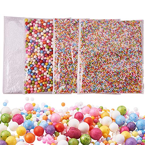 PandaHall Elite - Lot de 4 Packs Boules de Mousse Slime Perles pour la Création de Slime Art DIY Crafts et la Décoration de Fête ou Noel, Couleur Melangee, 2.5-9mm