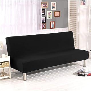 Cornasee Housse de Clic Clac élastique Canapé 3 Places,Salon Couverture de Couleur Solide,Noir