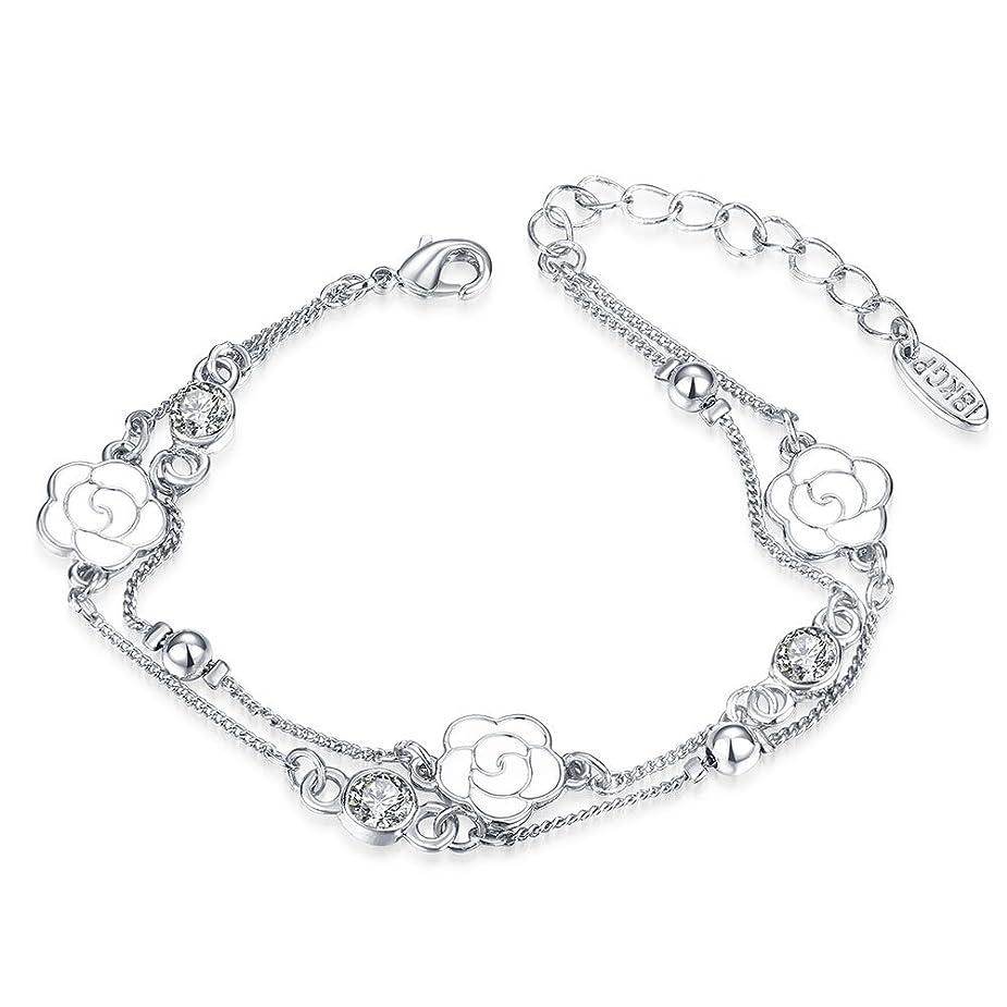 異常なポケットバスタブかわいい ブレスレットバラ桜の花??k 三一輪の花??ブレスレット女款 流行