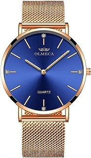 OLMECA Women's Watch Wrist Watches Analog Quartz Waterproof Stainless Steel Mesh Band Simple Watch for Women Blue Watch 0839L-QMLMwd
