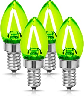 DORESshop E12 Small Base Green Light Bulb, No Dimmable C7 LED Filament Bulb, 2W (20W Equivalent) LED Candelabra Light Bulbs, 200LM, Perfect for Holiday, Christmas, Home Lighting Decorative (4-Pack)