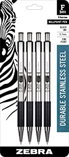 Zebra F-301 Ballpoint Stainless Steel Retractable Pen, Fine Point, 0.7mm, Black Ink, 4-Count (Packaging May Vary)