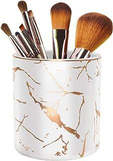 Pen Holder for Desk, Pencil Cup, Pen Pencil Stand Holder for Desk, WAVEYU Office Desk Organizer for Girls Women Kids Ceramic Glitter Marble Makeup Brush Holder, White (Upgrade Style)