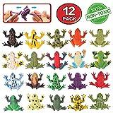 Spielzeuge in Form von Frosch, Minifrosch-Set aus Gummi (12 Packungen), lebensmittelgeeignetes Material TPR, super dehnbar, mit Geschenktasche und Lernkasten, Tierwelt