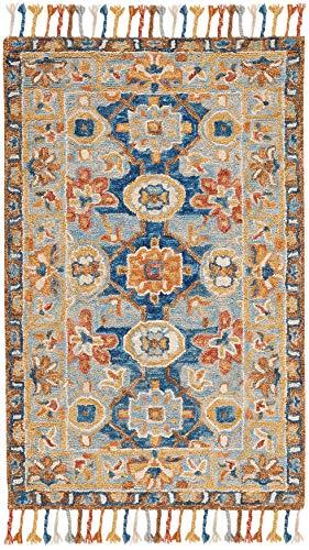 "Safavieh Aspen Collection APN110A Handmade Boho Braided Tassel Wool Accent Rug, 2'3"" x 5', Grey / Navy"