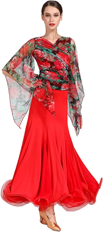 CHAGME Modern Dance top + Skirt National Dance Dress Waltz Skirt Tango Dress