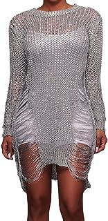 Karamoda Women Long Sleeve Ladies Loose Hollow Out Cover Up Beach Dress Beach Sunscreen Skirt