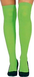 Guirca Strümpfe grün Overknee bunt für Damen Karneval Fasching Party Motto