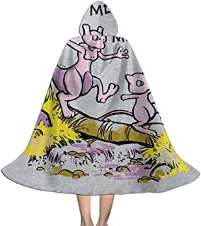 Monster of The Pocket Mew and Mewtwo Sketch Unisex Kids Hooded Cloak Cape Halloween Xmas Party Decoration Role Cosplay Costumes Black