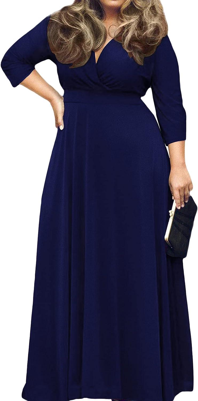 KARALIN Women's V-Neck 3/4 Sleeve Plus Size Evening Party Maxi Dress
