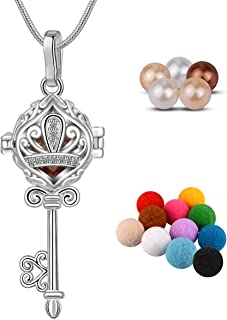 CELESTIA Essential Oils Diffuser Women Necklace, Key to Happiness Silver Plated Locket Pendant, Pearl Necklaces -10pcs Absorbant Pompons + 6pcs Pearl, 24