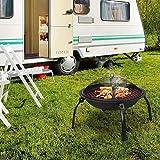WECDS Feuerstelle im Freien,Stahl Faltbare Feuerstelle Garten Heizstrahler BBQ,mit Funkenschutz,Kamin Poker,Schwarz