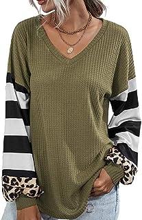 GUOCAI Women Leopard Print Stitching Long Sleeve Stripe V Neck Tops Blouse T Shirts