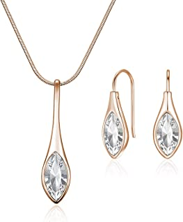 Mestige Women's Rose Gold Amelie with Swarovski Crystals Jewelry Set - MSSE3238