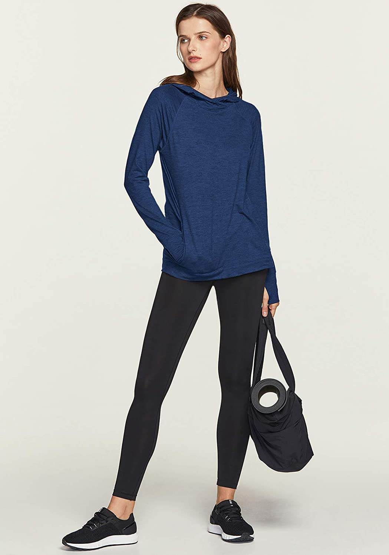 TSLA Womens Long Sleeve Running Hoodie Active Performance Hooded Pullover T-Shirts Lightweight Sports Sweatshirt