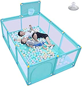 MWPO Portable baby play fence with shooting boards and doors  safe plastic play area  suitable for toddlers  indoor outdoor high bed rails  color  blue