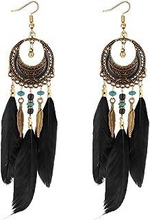 YAZILIND blattform dangel Ohrringe Gypsy Boho lange Feder Legierung Schmuck Party Zubehör für Frauen Mädchen Jeder Besondere Moment