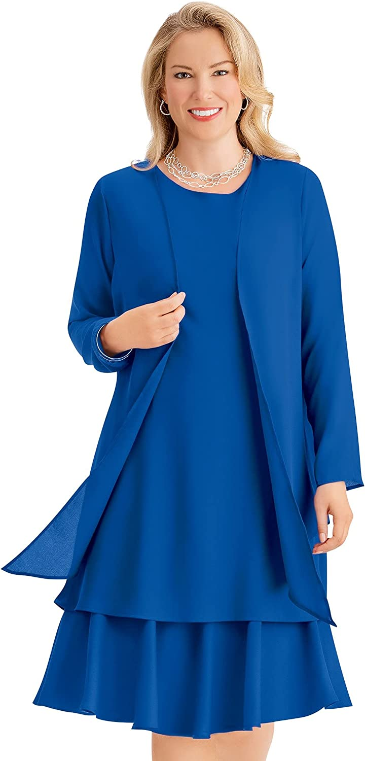 Albuquerque Mall Collections Etc Feminine 2-Piece Dress Sheer with Over item handling Jacke Matching