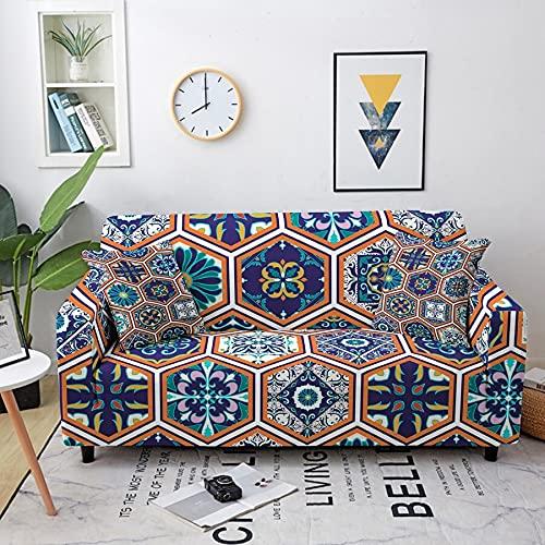 ASCV Bohemia Stretch Sofabezug für Wohnzimmer Schonbezug Mandala Flower Plaid Patterns Sectional Elastic Sectional Couch Bezug A4 4-Sitzer